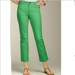 Talbots Signature Crop Flare Green Jeans